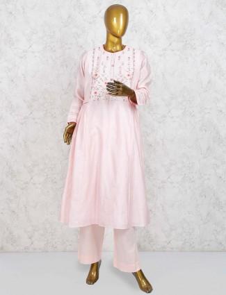 Light pink cotton silk punjabi salwar suit