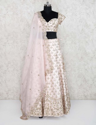 Light pink cotton silk wedding lehenga choli