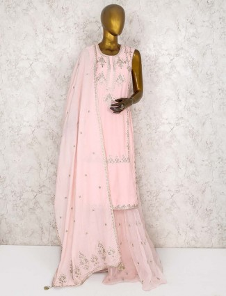Light pink  punjabi cotton silk sharara suit
