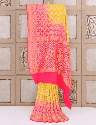 Light yellow bandhej fabric saree