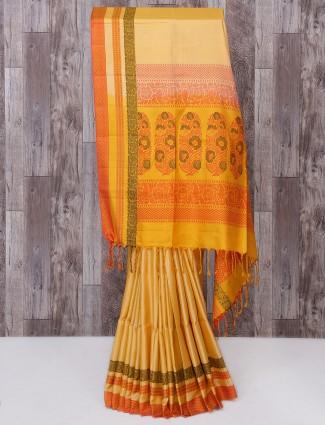 Light yellow color silk saree