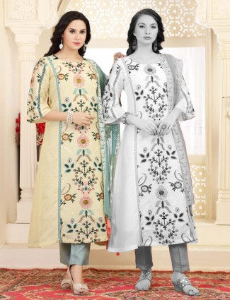 Light yellow cotton casual wear kurti