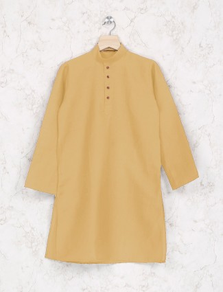 Light yellow cotton fabric festive kurta suit