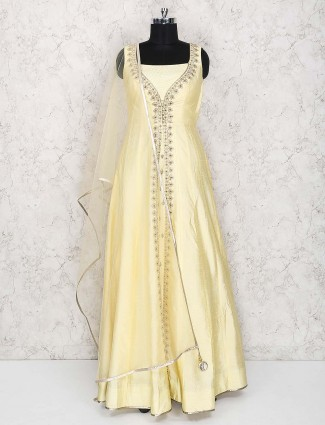 Light yellow cotton silk floor length anarkali suit