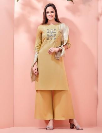 Light yellow festive cotton palazzo set online