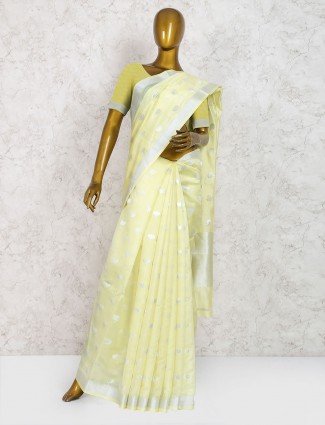 Light yellow pure silk classic saree
