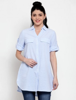 Long shirt top in sky blue for casual