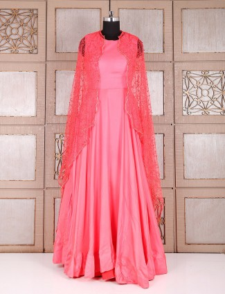 Lovely alluring pink silk anarkali suit