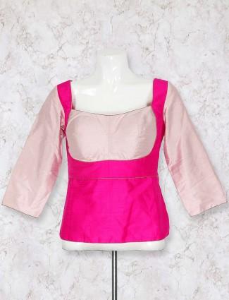 Lovely magenta hue raw silk blouse