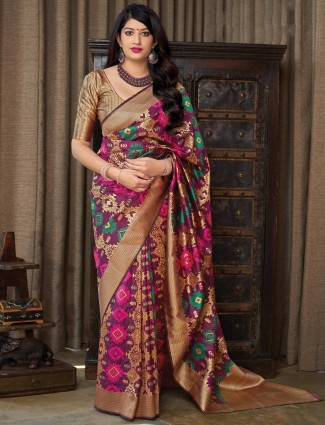 Lovely maroon beautiful saree in banarasi silk
