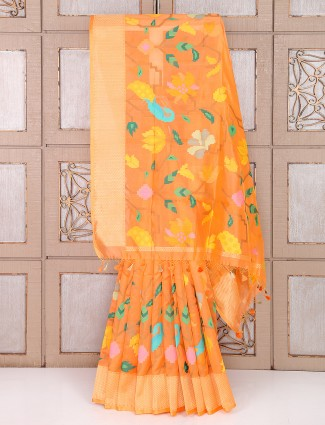 Lovely Orange color silk wedding saree