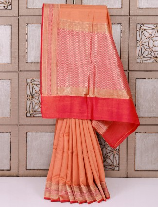 Lovely peach cotton silk saree
