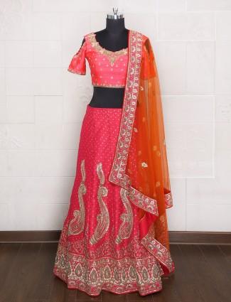 Lovely Pink color bridal lehenga choli
