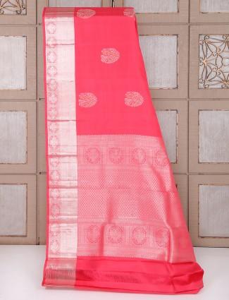 Lovely pink silk fabric saree