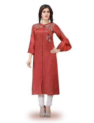 Lovely red color cotton silk kurti