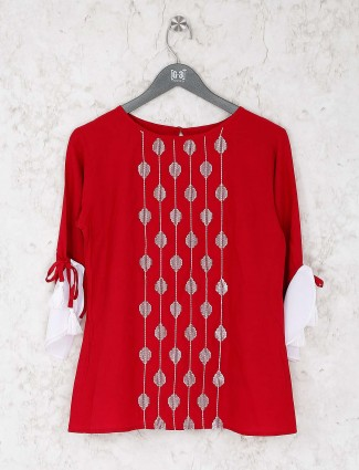 Lovely red color cotton top for casual