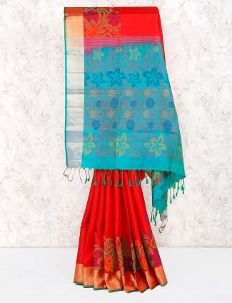 Lovely red color semi silk fabric sari
