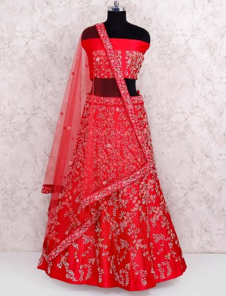 Lovely red color semi stitched lehenga choli