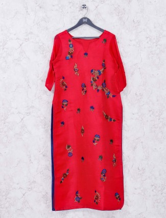 Lovely red colored cotton fabric kurti