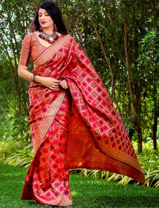 Lovely red colored wedding wear banarasi silk saree