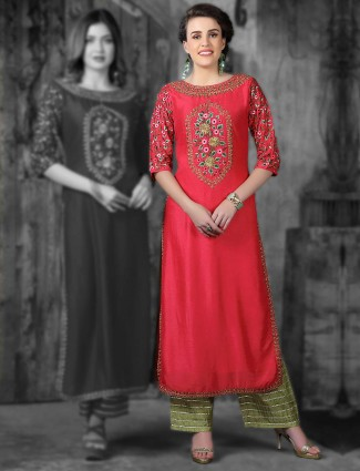 Lovely red cotton silk fabric kurti