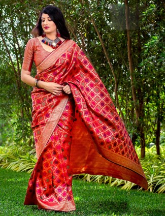 Lovely red hue banarasi silk wedding saree