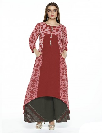 Lovely red silk festive palazzo suit