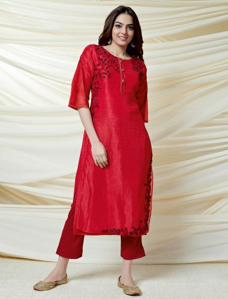 Lovely red thread work cotton silk kurti