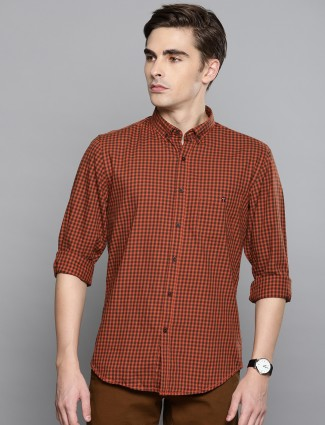 LP Sport rust orange checks pattern shirt