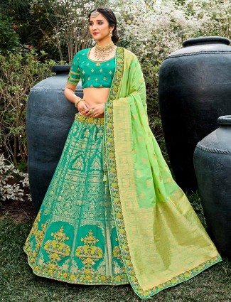 Luxuriant teal green semi stitched lehenga choli for wedding