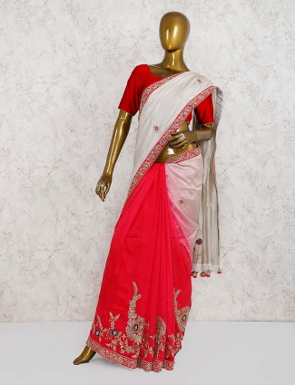 Grey and red half and half pure silk saree