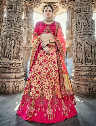 Magenta and beige unstitched lehenga choli