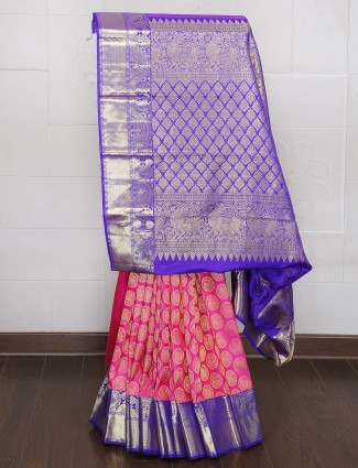 Magenta and blue color kanjivaram silk saree