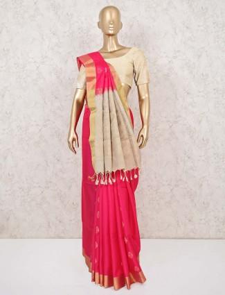 Magenta and cream silk saree for wedding