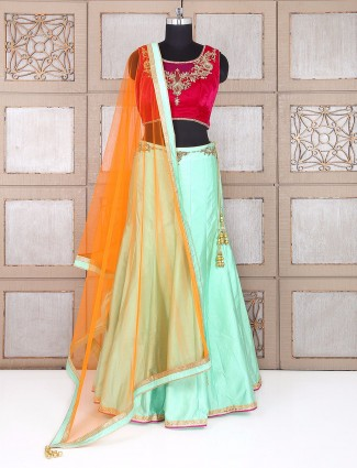 Magenta and sea green lehenga choli