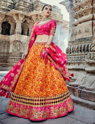 Magenta and yellow unstitched lehenga choli