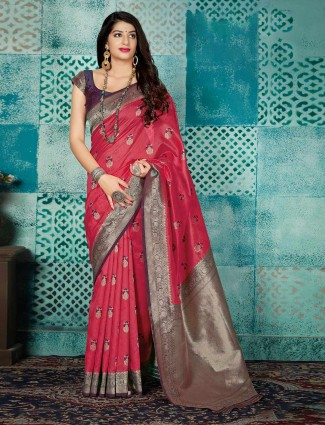 Magenta banarasi silk wedding function saree