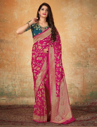 Magenta banarasi silk wedding saree