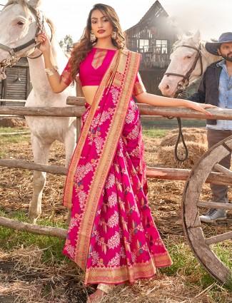 Magenta banarasi silk wedding wear sari