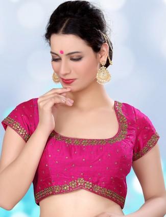 Magenta beautiful raw silk ready made blouse