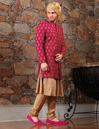 Magenta beige silk sherwani
