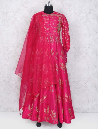 Magenta color floor length silk anarkali suit