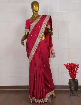 Maroon color saree in raw silk