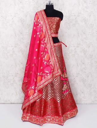 Magenta color silk semi stitched lehenga choli