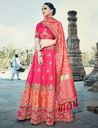 Magenta color silk unstitched lehenga choli