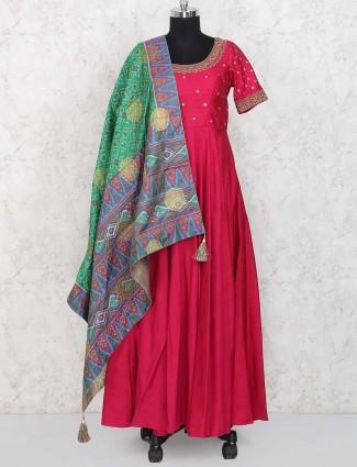 Magenta colored hue raw silk floor length anarkali suit