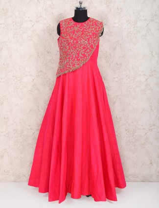 Magenta colored raw silk wedding gown