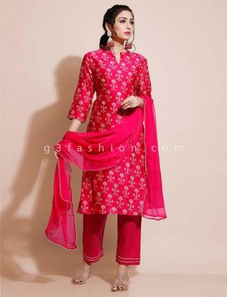 Magenta cotton salwar suit for festivals in cotton
