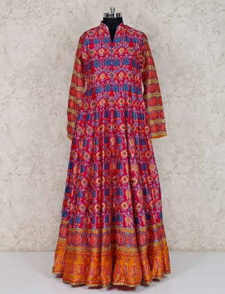 Magenta cotton silk festive wear printed anarkali suit