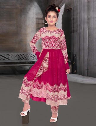 Magenta georgette party wear pant salwar suit